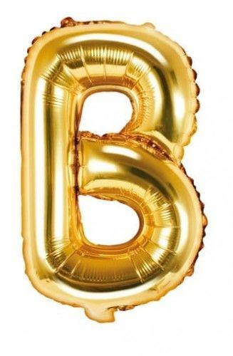 Balon foliowy w kształcie litery B, złoty