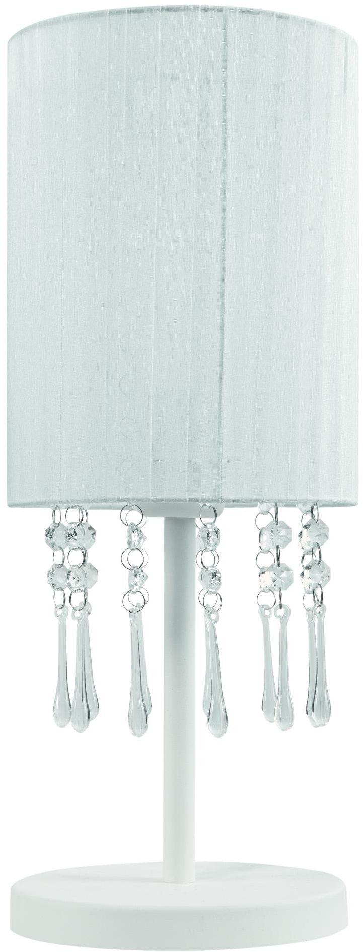 Lampex Wenecja biała 153/LM BIA lampa stołowa elegancka finezyjny abażur spod którego zwisają akrylowe kryształki 1x60W E27 45cm