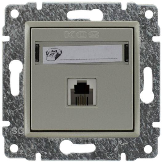 VENA Gniazdo telefoniczne pojedyncze RJ11 satyna 515063