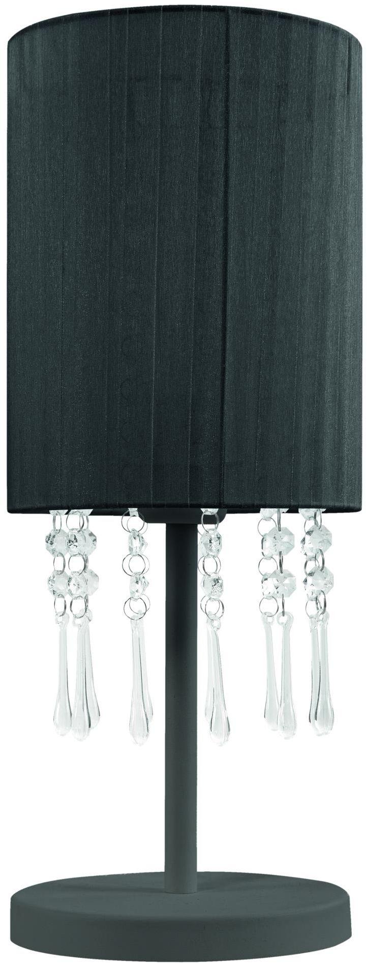 Lampex Wenecja czarna 153/LM CZA lampa stołowa czarna finezyjny abażur spod którego zwisają akrylowe kryształki E27 1 60W 18cm