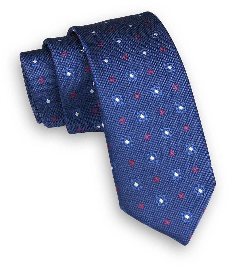 Niebieski Krawat -Angelo di Monti- 6 cm, Męski, Wzór Geometryczny KRADM1617