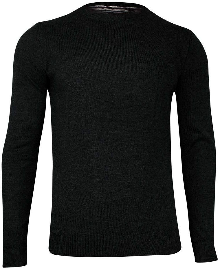 Czarny Sweter Męski -BRAVE SOUL- Okrągły Dekolt, Elegancki, Jednokolorowy SWBRSAW19PARSECPblack