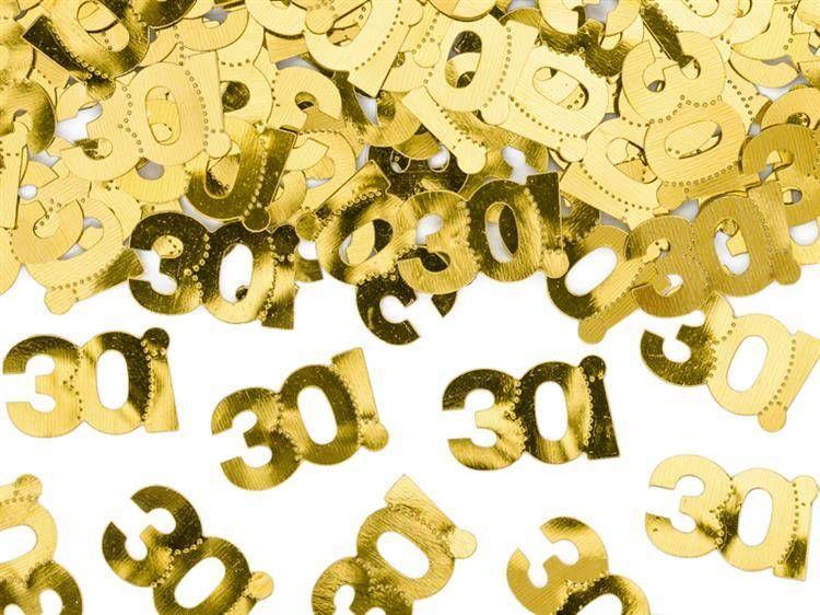 Konfetti metalizowane na 30 urodziny złote 15g KONS35-30-019ME