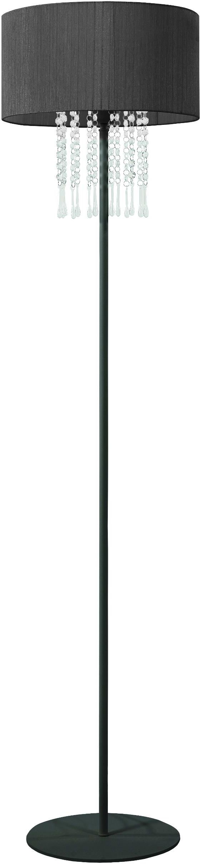 Lampex Wenecja 153/ST CZA lampa podłogowa czarny abażur kryształki 1x60W E27 150cm