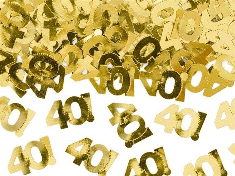 Konfetti metalizowane na 40 urodziny złote 15g KONS35-40-019ME