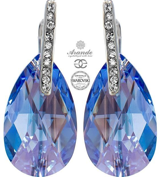 Kryształy ozdobne kolczyki SAPPHIRE SHIMMER SREBRO