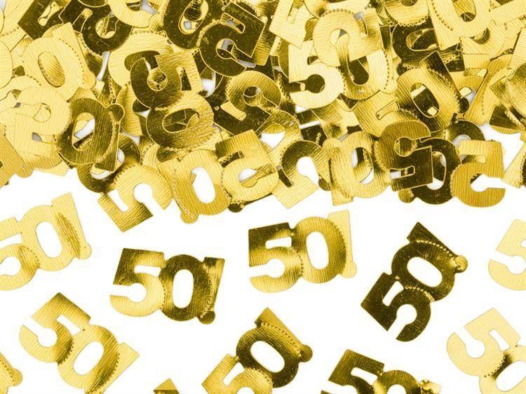 Konfetti metalizowane na 50 urodziny złote 15g KONS35-50-019ME