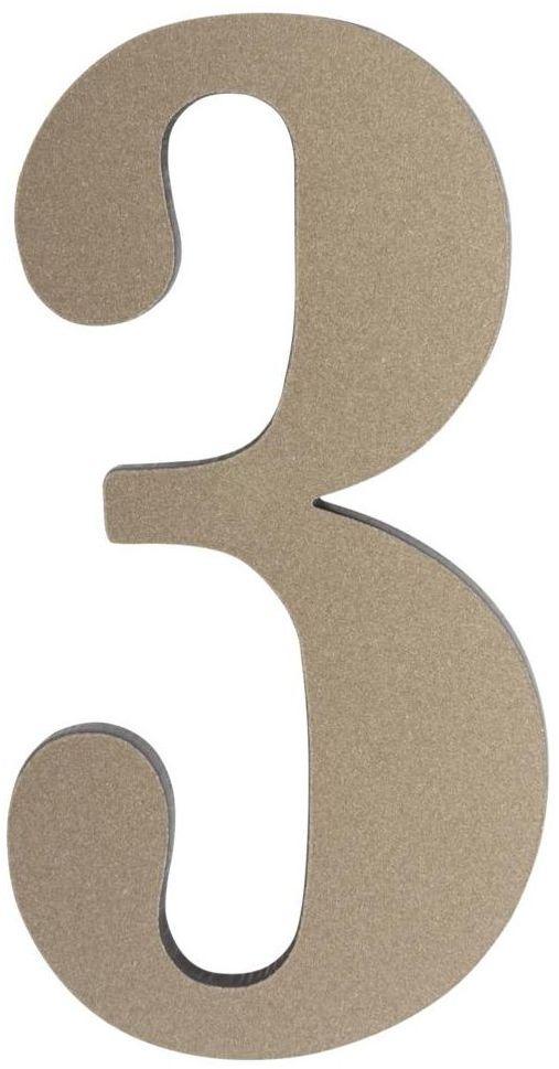Cyfra 3 wys. 5 cm PVC srebrna