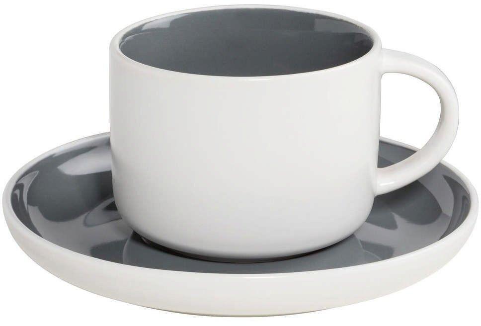 Maxwell & williams - tint - filiżanka do kawy, biało-grafitowa - grafitowy