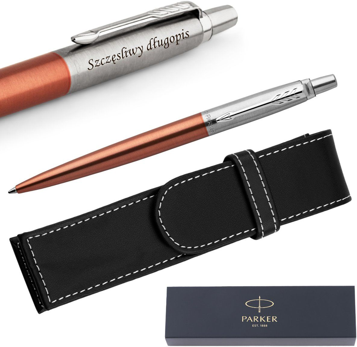 Długopis Parker Jotter CT Chelsea Orange + Etui Grawer