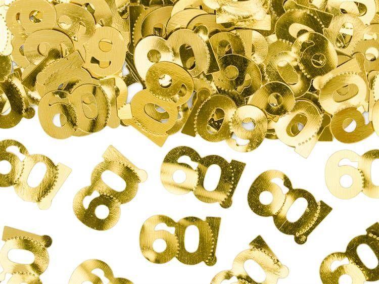 Konfetti metalizowane na 60 urodziny złote 15g KONS35-60-019ME