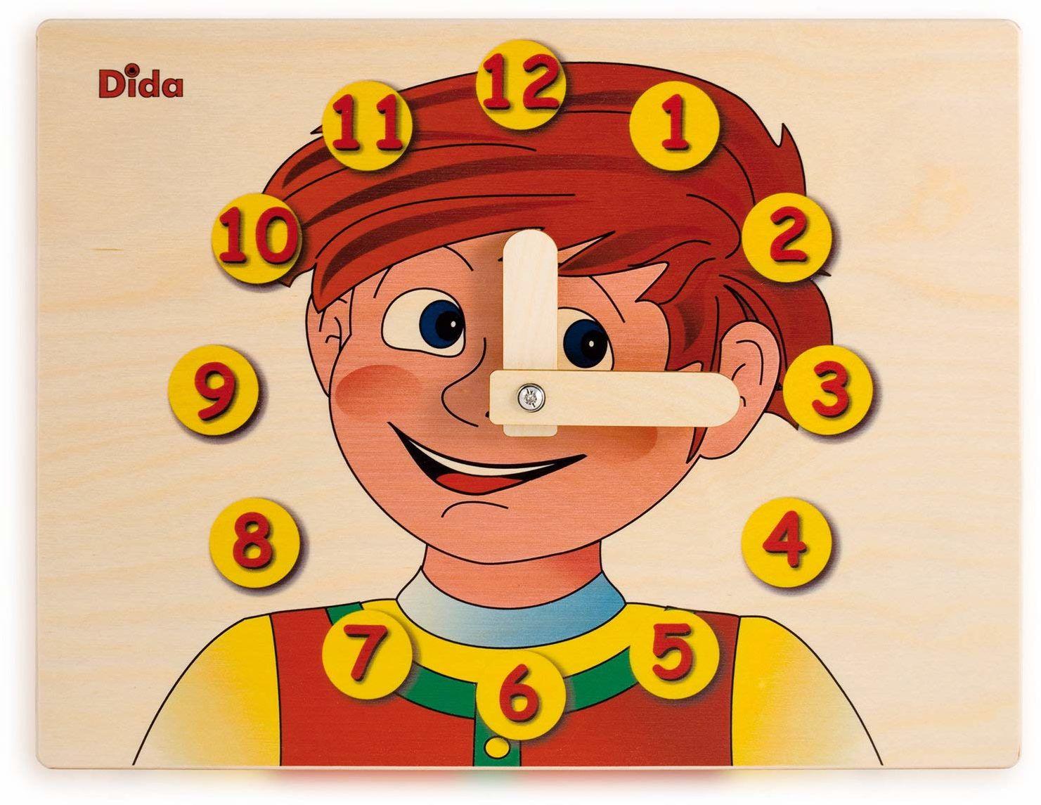 Dida - Zegarek do nauki dla dzieci - młoda twarz - zabawny zegar do nauki dzieci, z drewna, do przedszkola, szkoły i domu