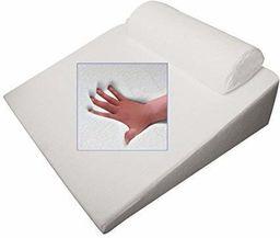 Ortopedyczna poduszka żelowa REFLUX pod głowę, poduszka klinowa, poduszka pod kark, rolka pod kark, 65 x 60 x 32 cm, biała, w kształcie klina, miękka poduszka do czytania i oglądania telewizji