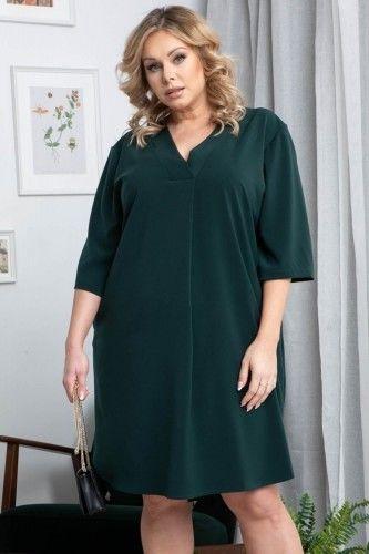 Sukienka swobodna PADWA dłuższy tył butelkowa zieleń