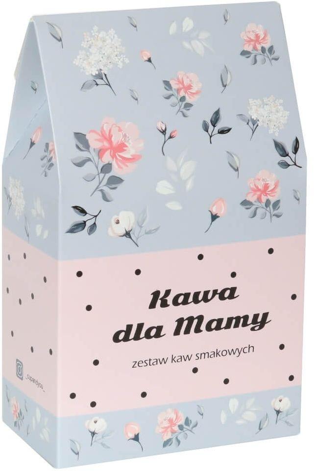 Kawa dla Mamy w kwiecistej torebce - prezent upominek dla mamy z okazji Dnia Matki z kawą mieloną Arabica - 10 smaków x 10g