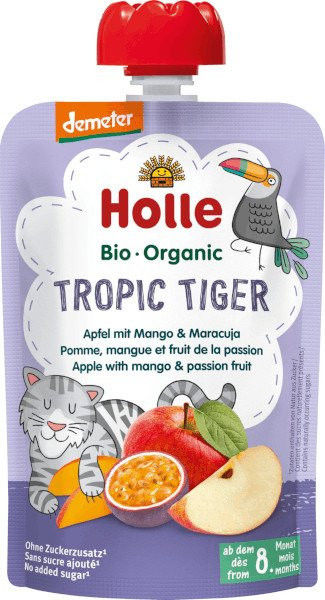 Holle Mus owocowy Tropikalny Tygrys jabłko mango marakuja - 100 g