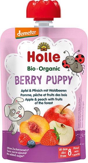 Holle Mus owocowy Jagodowy Piesek jabłko brzoskwinia jagody leśne - 100 g