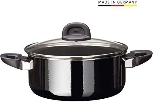 Silit Modesto Line garnek do gotowania 24 cm, szklana pokrywka, garnek do smażenia 4,4 l, ceramika funkcyjna Silargan, indukcja, czarny