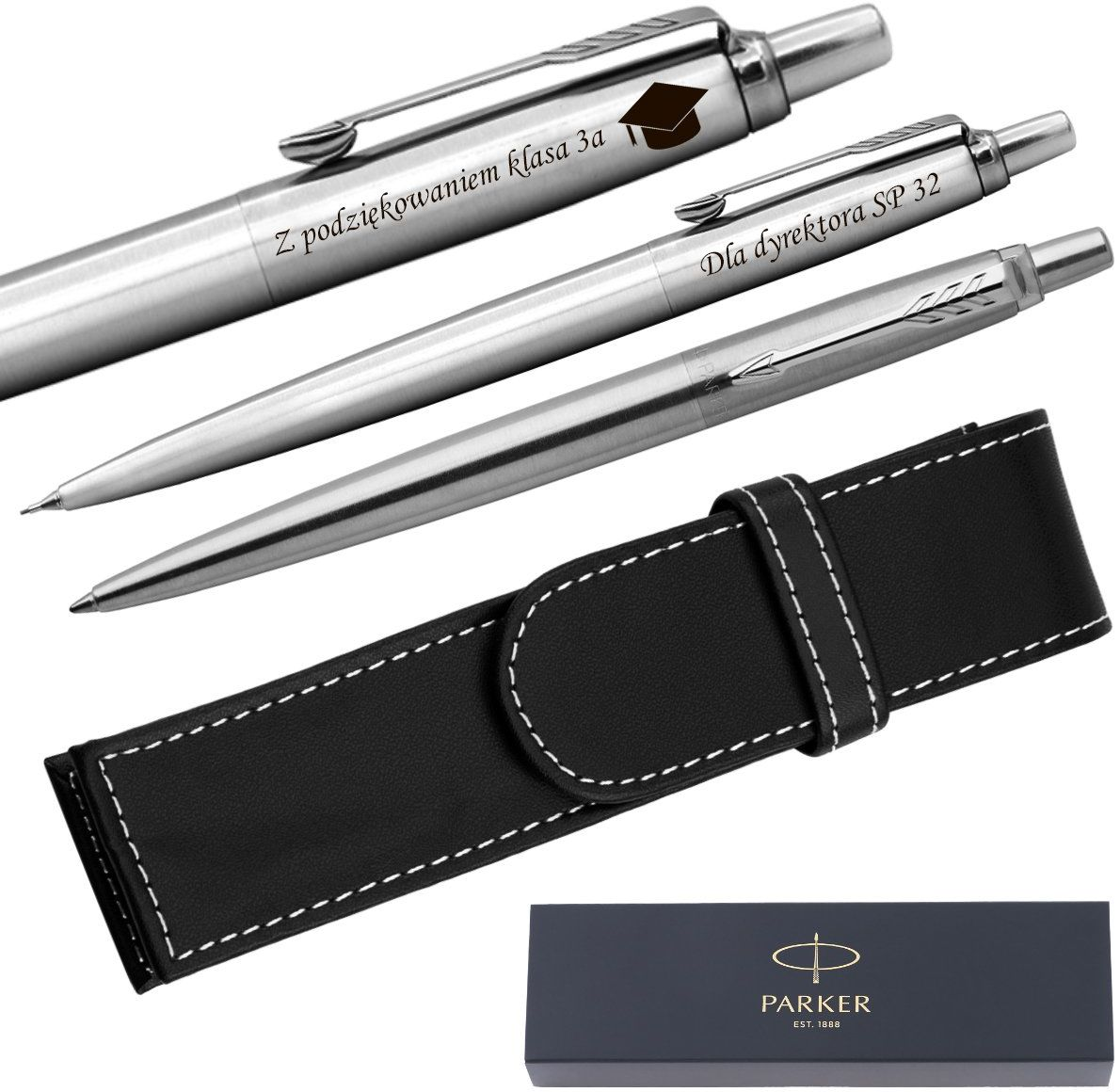 Zestaw Parker Jotter CT stalowy Ołówek + Długopis + Etui Grawer