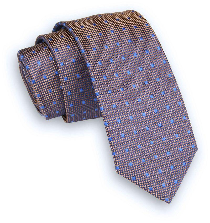 Pomarańczowo-Niebieski Klasyczny Męski Krawat -ALTIES- 6cm, w Drobne Kwadraciki KRALTS0329