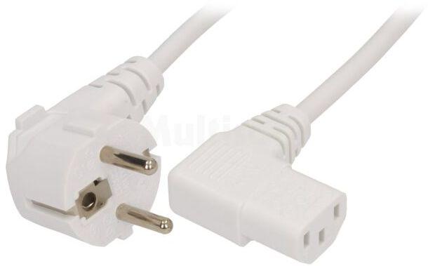 Kabel sieciowy CEE 7/7 (E/F) wtyk kątowy - IEC C13 żeński kątowy 5m biały