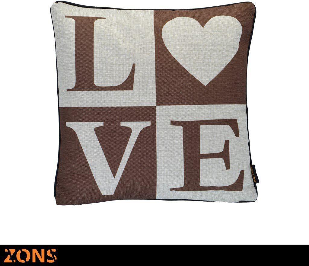 Poduszka inskrypcyjna 6 wzorów 45 x 45 cm brązowa 450 g wypełnienia (miłość)