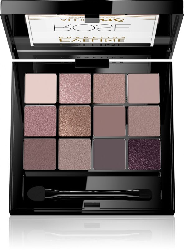 EVELINE - All In One Eyeshadow Palette - Paleta 12 cieni do powiek - 02 ROSE