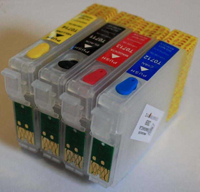 Zestaw 4 kartridże zamienne T071x + 4x100ml tusz barwnikowy