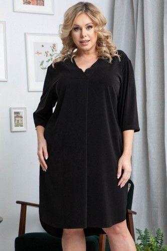 Sukienka wieczorowa swobodna PADWA dłuższy tył czarna