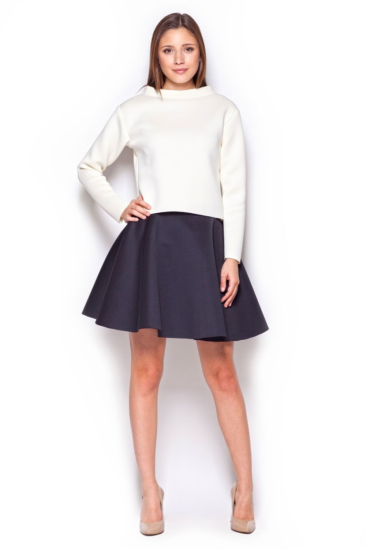 Ecru bluzka damska z szerokim półgolfem