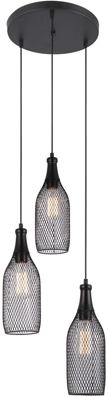 Italux lampa wisząca Julienne MDM-2547/3 czarna siatka potrójna 37cm