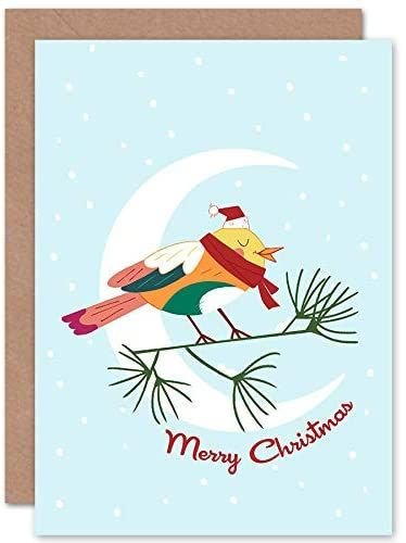 Wee Blue Coo Urocza kartka świąteczna Robin Moon