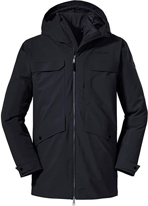 Schöffel Męskie 3 w 1 Parka Moskau M podwójne kurtki, czarny, 48