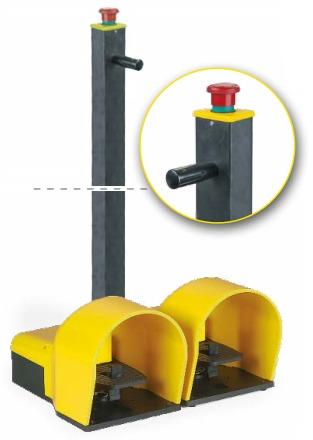 Podwójny przycisk nożny z osłoną z przyciskiem bezpieczeństwa 1NO IP7018EM