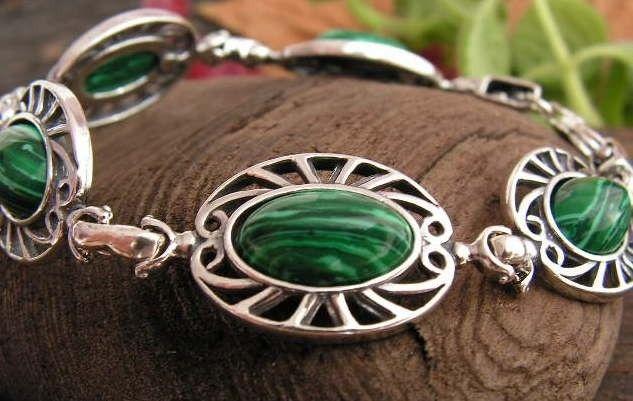 Gente - srebrna bransoletka z malachitem