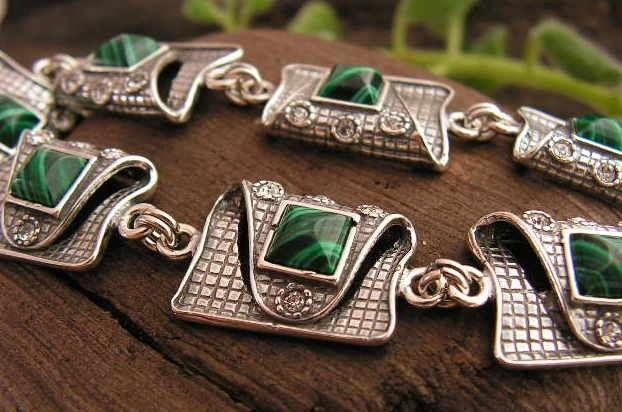Pappa - srebrna bransoletka malachit z kryształkami