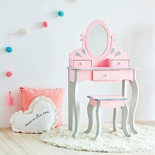 Fantasy Pola Roszpunka Toaletka Dzieci Toaletka Stół toaletowy z lustrem i stołkiem Różowy i szary UK-TD-12851A