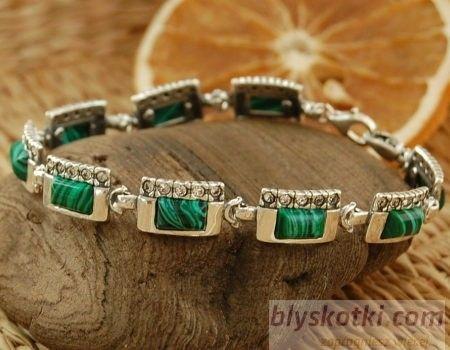 Degli - srebrna bransoletka malachit z kryształkami