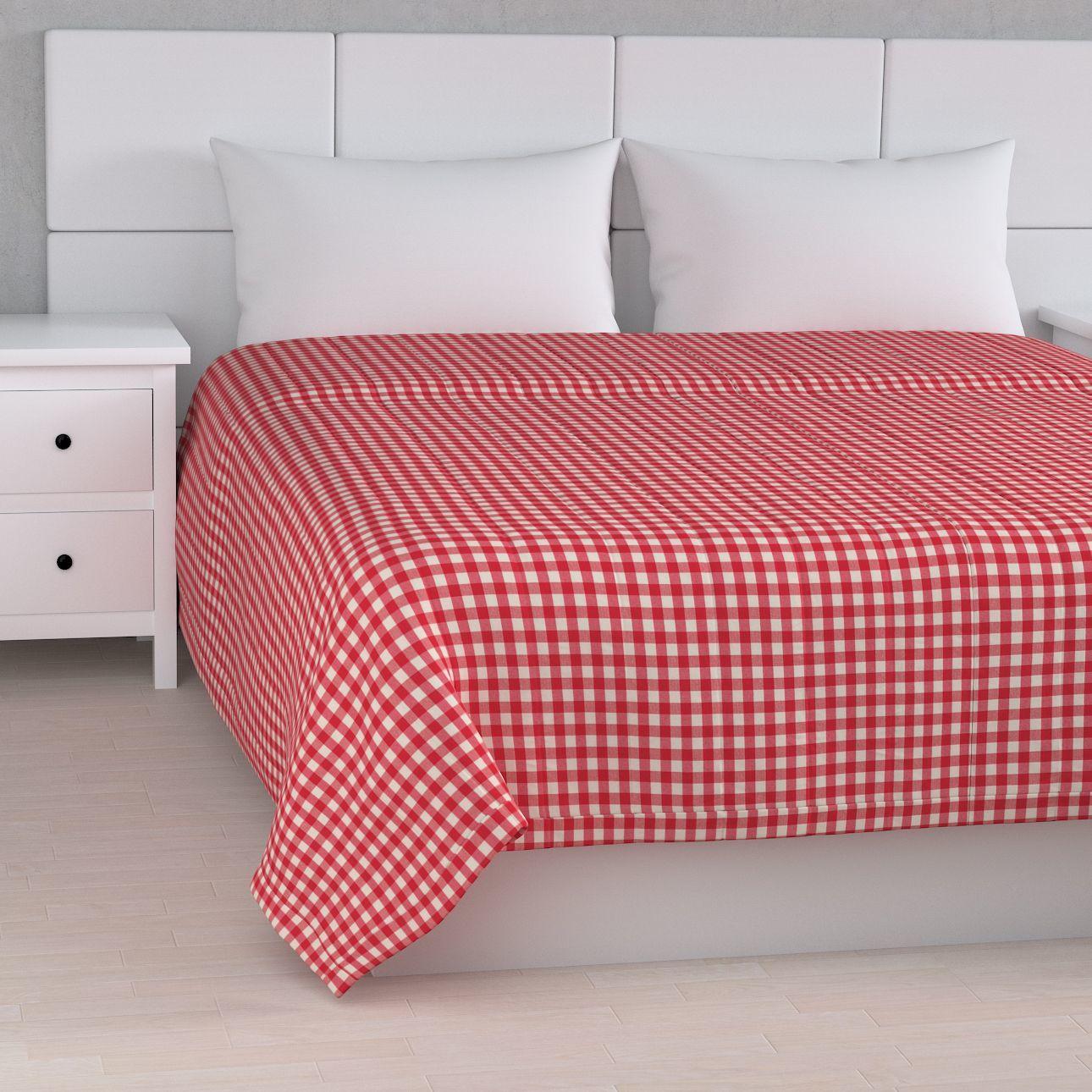 Narzuta pikowana w pasy, czerwono biała kratka (1,5x1,5cm), szer.170  dł.210 cm, Quadro