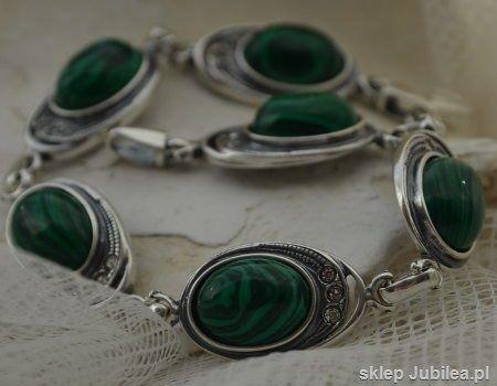 Duomo - srebrna bransoletka malachit z kryształami