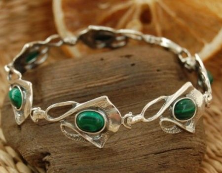 Elena - srebrna bransoletka z malachitem