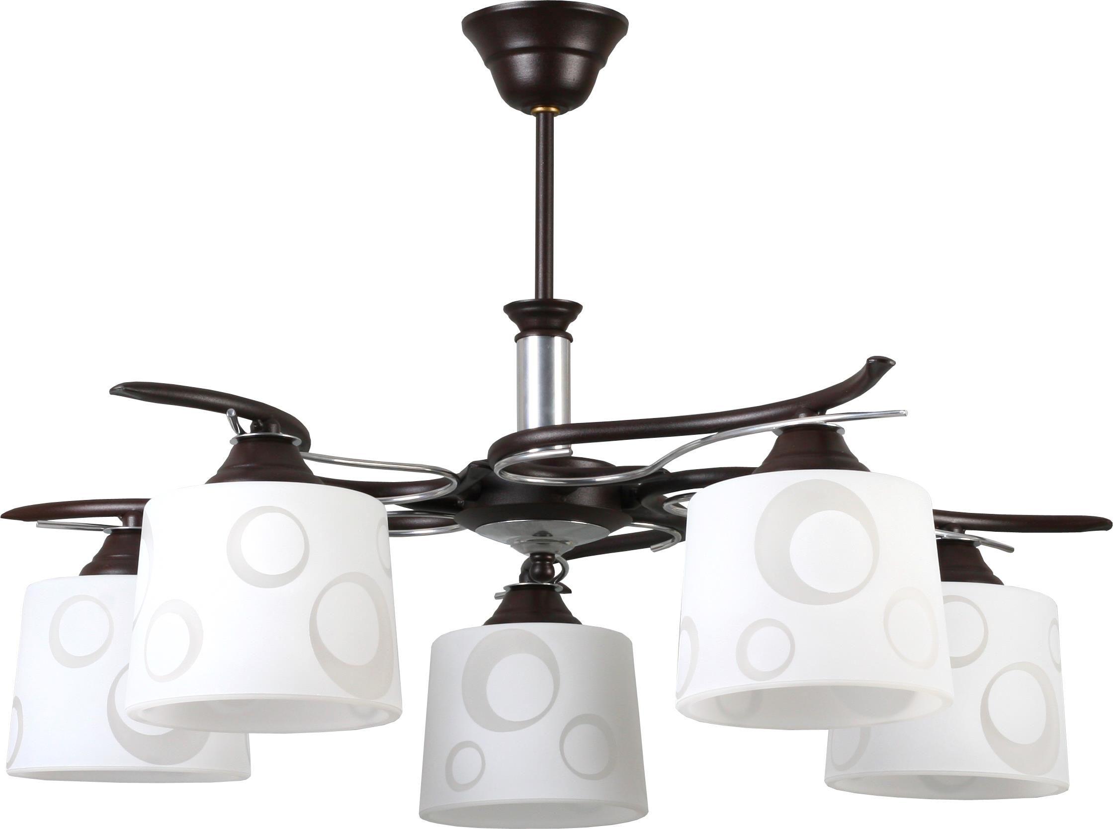 Lampex Wersal 5 273/5 WEN lampa wisząca klasyczna szklane klosze z kolistym wzorem 5x60W E27 65cm