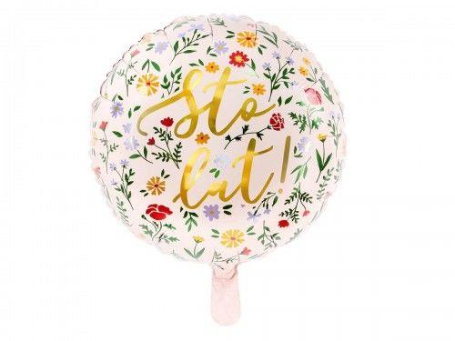 Balon foliowy na urodziny Sto Lat, jasny różowy