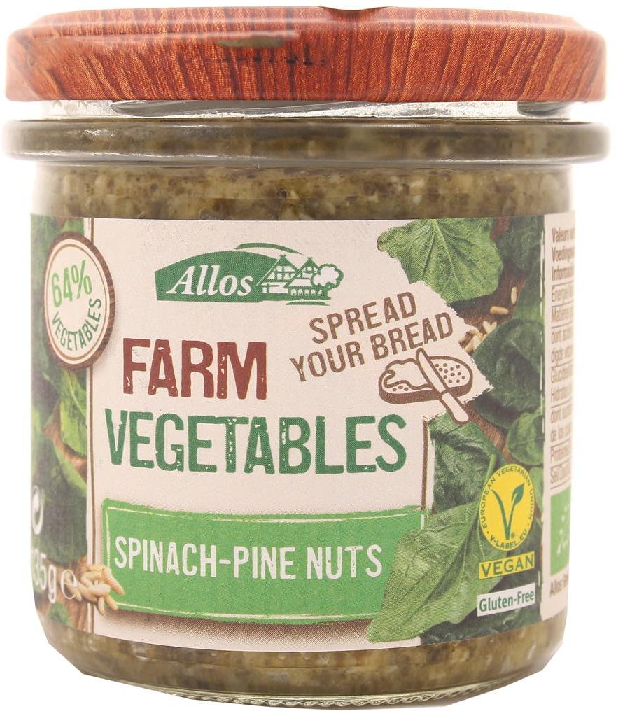Pasta warzywna ze szpinakiem i orzeszkami pini BIO - Allos - 135g