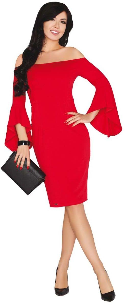Czerwona ołówkowa sukienka z rozkloszowanym rękawem