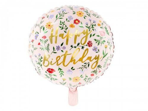 Balon foliowy na urodziny Happy Birthday, jasny różowy