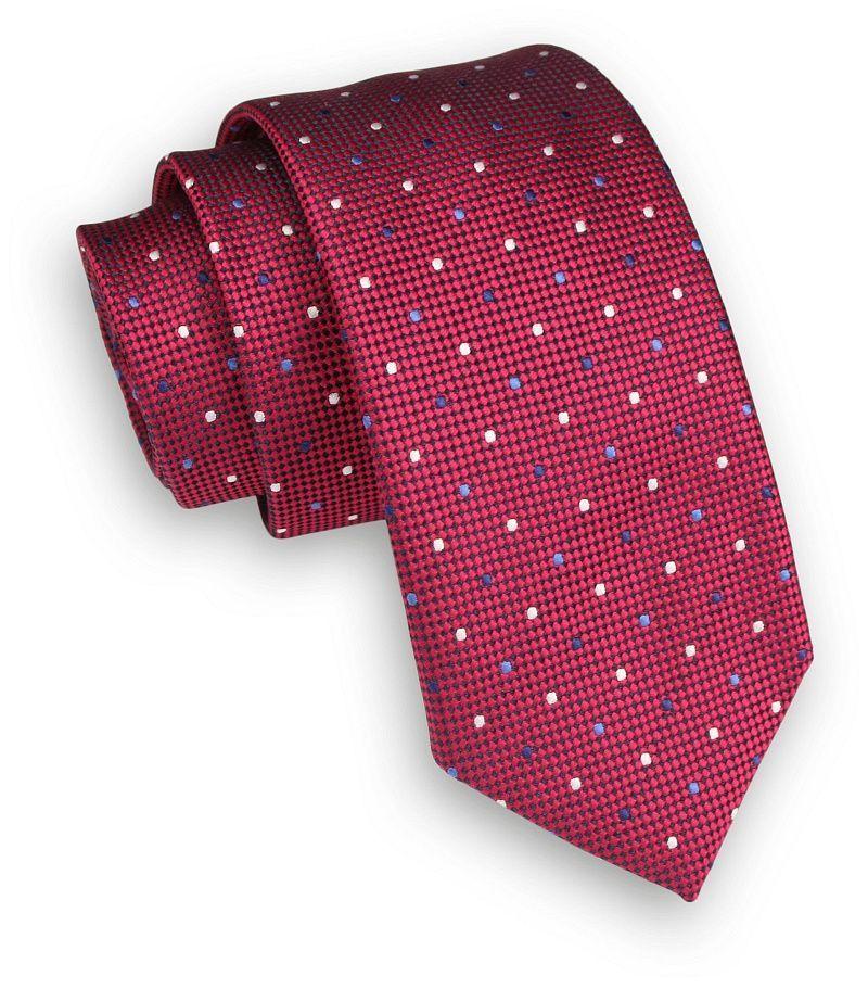 Czerwony Klasyczny Męski Krawat -ALTIES- 6cm, w Groszki, Kropki KRALTS0333