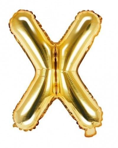 Balon foliowy w kształcie litery X, złoty