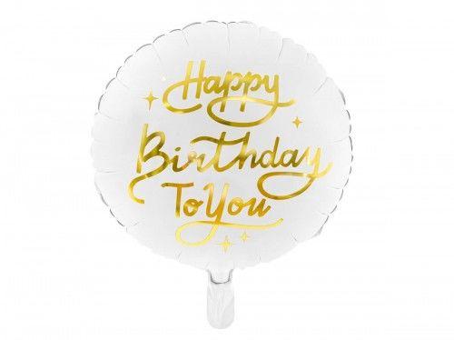 Balon foliowy na urodziny Happy Birthday To You, biały