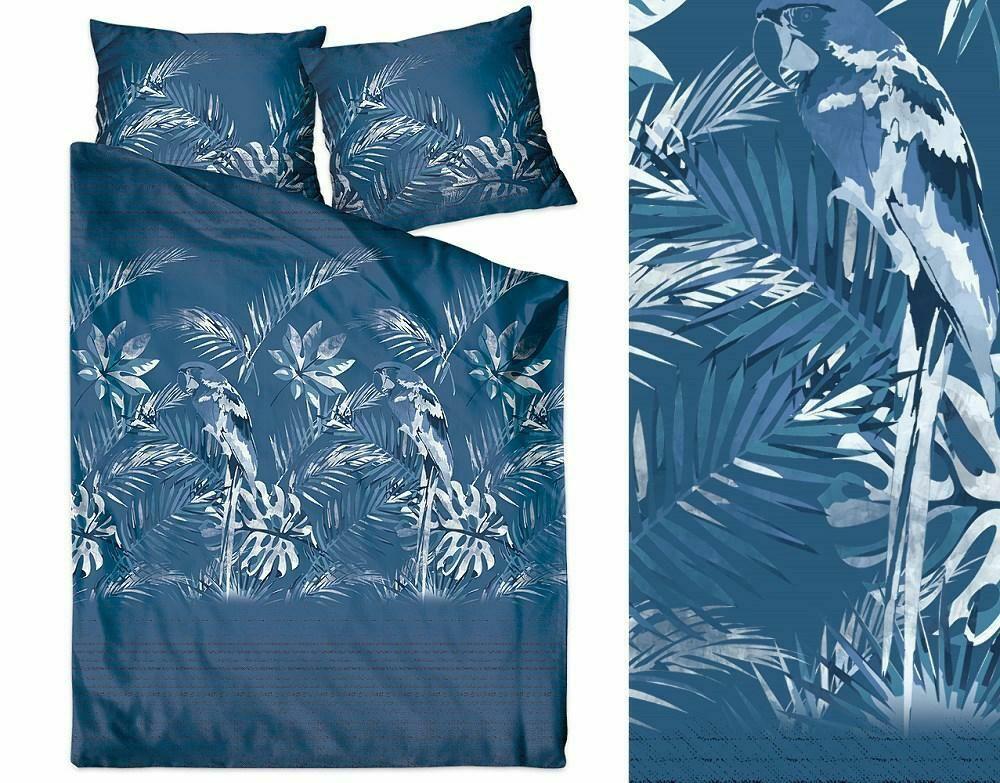 Pościel satynowa 220x200 Insignia Ballad Blue granatowa liście palmy monstery papuga Greno